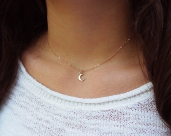 Dainty Rose Gold Moon Necklace, Rose Gold Necklace, Gift for Her