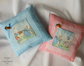 Peter Rabbit Pillow Beatrix Potter Fabric Jemima Puddle Duck Baby Nursery Decor Kids Tooth Pillow Shower Gift Pink or Blue Pocket Pillow