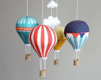 DIY baby mobile kit – modern nursery decor – red, blue, yellow – Hot Air Balloon – Blue Skies
