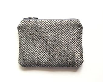 Grey and Tan Herringbone Coin Purse / Vintage Linen Zipper Pouch / Brown Yellow Eco-Friendly Bag / Purse Organizer Insert / Stocking Stuffer