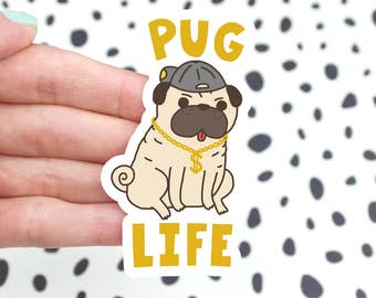 Funny Pug Sticker, Dog Lover Gift, Thug, Cute Puppy Sticker, Dog Sticker, Car Decal, Funny Dog Vinyl Sticker, Pug Dog Sticker, Cute Dog