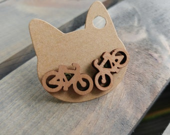 Wooden Bicycle Cycling Earrings
