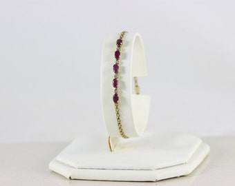 RESERVED_10k Yellow Gold Natural Ruby and Diamond Bracelet