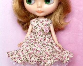 Blythe doll rose flower dress