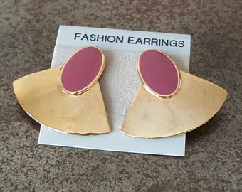 Vintage Glam Enamel Earrings 1980s/90s New Old Stock NOS Gold & Purple Deadstock 80s Glam Mod Retro Pierced Posts