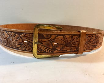 Justin Tan Brown Hand Tooled Lily Floral Design Leather Belt with Gold Tone Belt Buckle by Justin Size 34