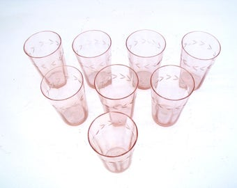 French Antique 1900's fine hand blown Pink whisper Tumblers decorated with leaf and cameo x 8