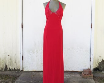 Vintage Red Halter Maxi Dress- Disco Dress/Mod Dress Dave and Johnny  Size small (see listing for measurements)