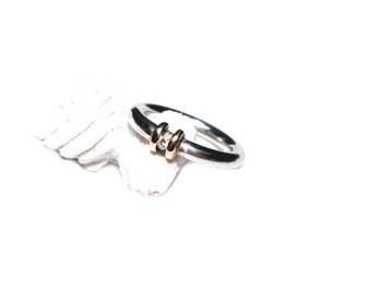 Diamond ring silver Gr. 52, Sterling, BrillantRing sterling silver, US size 6.1 UK size L 1/2 Gold, gem stone