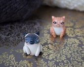Siamese cat figurine Grumpy cat totem Persian cat sculpture Polymer clay cat Polymer animal figurine