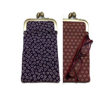 Purple sakura geometric/Eye glass case/ Smartphone case /Japanese cotton fabric case/Sun glass case / Hand-made/18