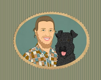Custom portrait for pet lovers. Custom pet illustration. Quirky pet portrait. Gift for her / him. Cartoon portraits.