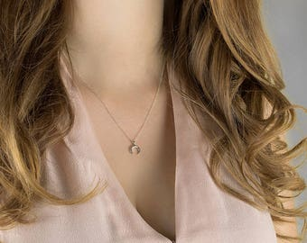 Double Horn Necklace | Sideways Crescent Moon Necklace, Double Tusk Necklace, Rose Gold Crescent Necklace, Small Horn Necklace, Gift for Her