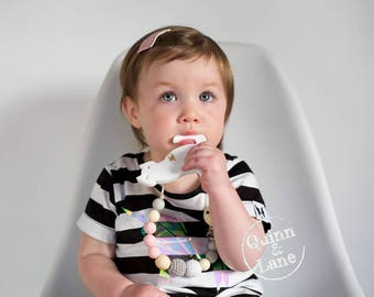 Pacifier Clip w/ Silicone Teething CAT Teether - Bite Beads Soother Clip - Chew Toy - Limited Edition Teething Toy - Chew Baby Beads