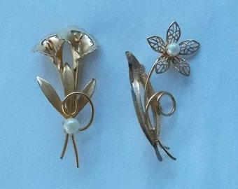 445.  Two Gold Filled Floral Brooches each with a single cultured pearl