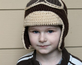 Crocheted Aviator Hat, Kid's Aviator Hat, Infant Aviator Hat, Baby Aviator Hat, Aviator Costume, Kid's Earflap Hat, Brown Aviator Hat