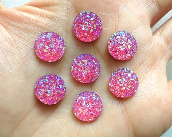 Small Hot Pink AB Round Druzy Resin Flatback Cabochon - 12mm - Decoden - DIY - Scrapbooking