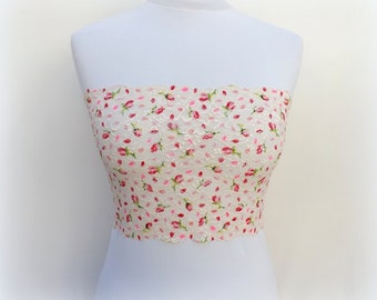 Ivory floral lace bandeau top. Red flowers lace strapless. Floral lingerie.