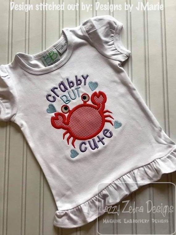 Crabby but Cute saying crab appliqué embroidery design - crab appliqué design - girl appliqué design - boy applique design - baby appliqué