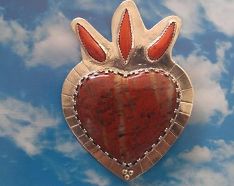 Corazon Sagrado or Sacred Heart Pendant Red Jasper Sonoran Sunset Flames on Sterling Silver