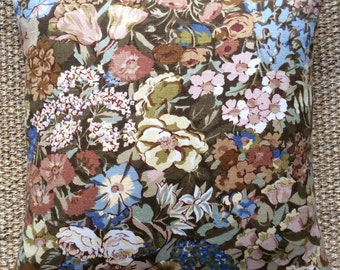 """Vintage Liberty Of London """"Cottage Garden"""" Linen Fabric Cushion With Interior 40cm x 40cm"""