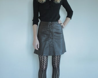 70's Brown leather button up a-line mini skirt