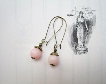 Jade Bead Earrings Kidney Wire Earrings Vintage Inspired Handmade Earrings Baby Pink Mothers Day Gift Spring Jewelry Simple Earrings