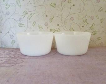 Vintage Pair of White Milk Glass Custard Cups