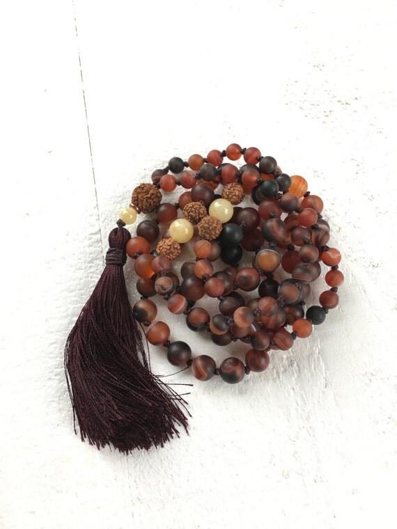 Dark Brown Dream Agate Mala, Long Tassel Mala Beads, Rudraksha And Jade Mala, Knotted 108 Bead Mala, Healing Yoga Jewelry, Mala Beads