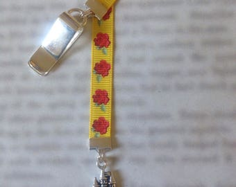 Beauty and the Beast bookmark / Belle bookmark / Beast's Castle bookmark - Attach to book cover then mark page with the ribbon