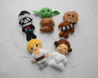 Star Wars baby ornament Star Wars mobile Star wars nursery decor Star wars baby shower Darth Vader Yoda Chewbacca Princess Leia  Skywalker