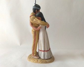 """Vintage """"The Lovers"""" Gregory Perillo Artaffects Porcelain Sculpture Figurine Indian Couple, 1985 Gregory Perillo Limited Edition"""