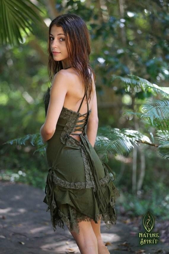 Tigerlily Dress Green Festival Dress Pixie Dress Fairy