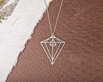Diamond Shape Necklace, Geometric jewelry, Diamond shaped Pendant, Bohemian Jewelry, gold Geometrical necklace, Silver Diamond Necklace