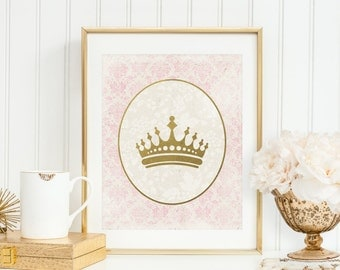 Princess Crown Printable Princess Nursery Decor Crown Wall Art Pink and Gold Nursery Wall Art Shabby Nursery Decor Gold Foil Pink Medallion