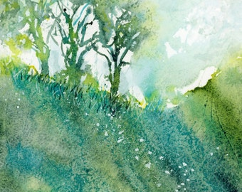 Tree Landscape,Art Print,Hillside Tree,White Flowers,Nature, Botanical Art,Trees,Turquoise,watercolor,watercolor trees,yellow-green,Abstract