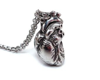 Anatomical Heart Necklace Steampunk Pendant Nurse Jewelry