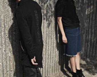 Long men sweater - full zip - dark jacket - CARLO-SS17-2