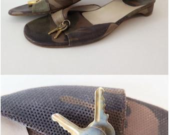 Christian Dior Vintage Leather Camo Mules Slides Size 8.5 / 39