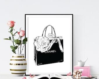 Fashion Print. Chanel Print Chanel Bag. Fashion Illustration. Watercolor Perfume artwork. Fashion Illustration. Modern Home Décor.