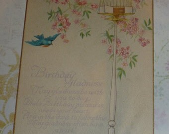 Bluebird, Pick Flowers and Bird Cage Vintage Birthday Postcard