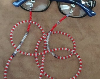 Eyeglass Chain Leash- Eyeglass Chain in Red and White Crystals Beads-Eyeglass Necklace for Reading or Sun Glasses- Jewelry Handmade in U.S.A