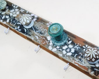 Entryway organizer rustic wooden /jewelry holder reclaimed wood home decor farmhouse coat rack wall cherry blossoms 6 white hooks 5 knobs