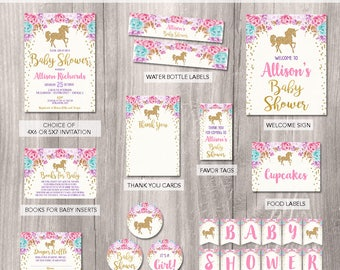 Unicorn baby shower invitation, unicorn party package, unicorn printable Party Package, girl baby shower invitation party package printables