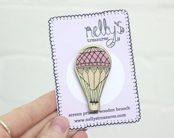 Hot Air Balloon Screen Printed Wooden Lasercut Brooch