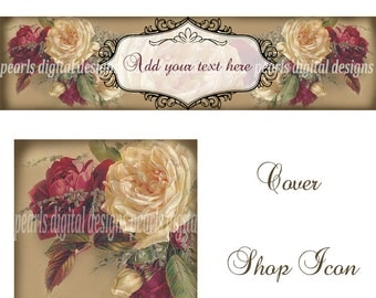 Victorian Floral Cover banner and Shop Icon, instant download, blank, roses, burgundy and ivory, large Christmas or all year vintage theme