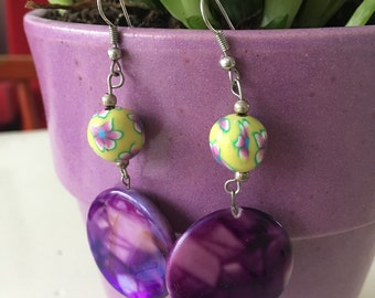Pendants handmade earrings with yellow flowers fimo beads and purple circles