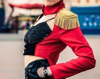 Lera Red with Black Satin Lining Ringmaster Jacket