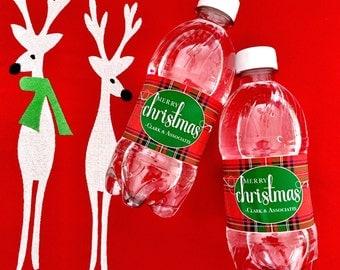 Custom Tartan Holiday Christmas Plaid Waterproof Water Bottle Labels
