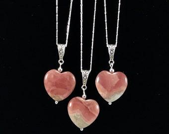 Rhodochrosite Heart pendant necklace/ Rhodochrosite/ pink/ gemstone/ love/ Valentine's Day/ gift/ jewelry